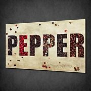 Colourful Pepper Sign Kitchen Design Box Canvas Print Wall Art Picture