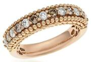 1.26ct White And Chocolate Fancy Diamond 18kt Rose Gold 3d Round Anniversary Ring