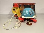 Fisher Price Vintage 773 Tippy Toe Turtle Pull Toy With Box 1967 Very Rare