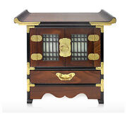 Korean Traditional Muntin Design Table, Telephone Table, Interior Antique Table