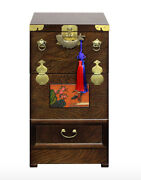 Korean Traditional Telephone Table, Antique Furniture Table, Folk Painting Table