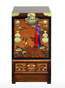 Korean Traditional Telephone Table, Antique Furniture Folk Painting Table
