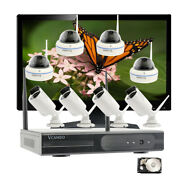 8 Pcs Ip Wireless Cameras 1080p For Home Surveillance With Hdd And 21.5monitor