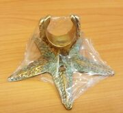 Brass Shower Head Holder Green Star Fish Figurine Wall Mounted Vintage Home Deco