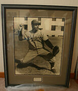 1950's Roy Campanelladodgers Framed Photo/signed Index Card - Awesome 0016