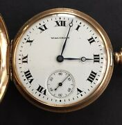 Antiques 9 Ct Gold Full Hunter Pocket Watch By Waltham 1915 Working 5cm