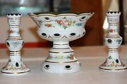 Czech Bohemian Cased Glass White To Green Compote And Two Candle Holders 3 Pieces