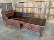 Antique Cobblers Bench Early 1800 Primitive Dovetailed Drawers Makers Bench