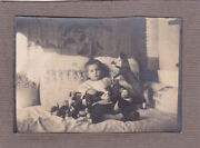 1920s Cute Litle Boy W/ Many Toys On The Sofa Old Russian Antique Photo