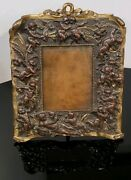 Antique Victorian Bronze Picture Frame With Angels 1800s