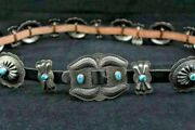 Vintage Sterling Silver Concho Belt Nugget Kingman Turquoise 1970and039s Southwestern