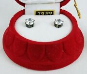 Cubic Zirconia Stud Earrings In Red Bell Christmas Ornament Msrp 80