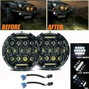 2pc Dot 7 Inch Round Led Headlights Fit For Porsche 911 912 914 924 928 944