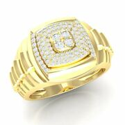 0.75ct Real Round Diamond Rolex Engagement Ring For Men 18k Yellow Gold