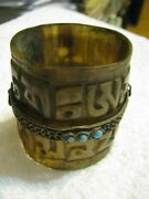 1800s Carved Ox Horn W/ Silver Brass And Turquoise Mount Tibetan Prayer Wheel Lqqk