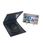 Knight Rider Shield Leather Wallet With Kitt Operator License On Metal Card C
