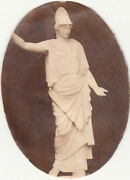 Oval Cutout W Picture Of Lady Statue Toga Helmet No Advertising Vict Card C1880s