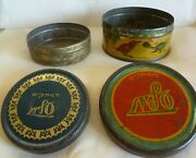 Lot Of 2 Vintage Elite Israel Blue And Red Candy Tin Boxes --one With Birds