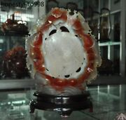 Chinese Natural Red Agate Onyx Carved Fish Goldfish Lotus Fortune Lucky Statue