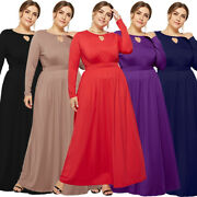Plus Size Women Long Sleeve Maxi Cocktail Dresses Evening Party Formal Prom Gown