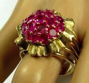 Vintage 3.5ct Natural Pigeon Blood Ruby Cocktail Cluster Ring 14k Yellow Gold