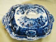 Staffordshire Ridgways Oriental Flow Blue Covered Serving Bowl 1891-1920 11