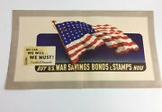 1942 Wwii Savings Bonds Poster We Can Will Must Roosevelt American Flag