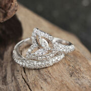 Natural 0.78 Ct. Diamond Pave Leaf Ring 18k White Gold Fashion Fine Jewelry