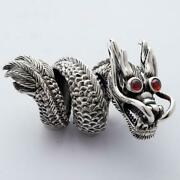 Oriental And Gothic Design Massive Red Ruby Eye Dragon 925 Solid Silver Men Ring
