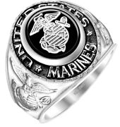 Menand039s 14k Or 10k Yellow Or White Gold Us Marine Corps Military Solid Back Ring