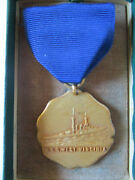 1935 Us Navy Uss West Virginia Competition Award Medal Ship Sunk Pearl Harbor