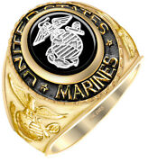 New Menand039s Two Tone 14k Or 10k Yellow Or White Gold Us Marine Corps Military Ring