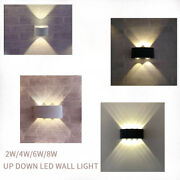 1/10x Led Wall Light 2w 4w 6w 8w Up And Down Sconce Lamp Outdoor Lighting Ip65 Mkt
