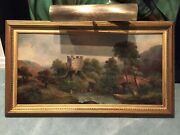Historical Painting By British Artist T Lawley Of Rochester Castle Signed Canvas