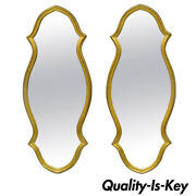 Pair Of Vintage Carved Wood Hollywood Regency Gold Keyhole Frame Wall Mirrors