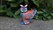 Pp1211extraordinary Mexican Oaxacan Wood Carving Alebrije Owlby Lucero Fuentes.