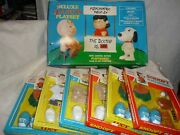 Vhtf Vintage 60s Peanuts Jointed Figure Set Snoopy Charlie Lucy Carded Outfits