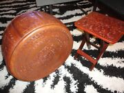 Vintage Antique Leather Brown Peruvian Leather Embossed Ottoman Cover And Stool