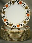 Set 12 Royal Crown Derby Asian Rose A348 Hand Painted Plates 9 C1945