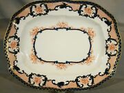 Large Royal Crown Derby Red And Cobalt Fluted Platter Meat Dish 1890-1920 17