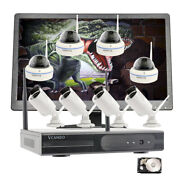 Business Home Cctv 1080p Wireless Security Camera System With Hdd H.265 Monitor