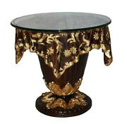 D Baroque Style Gilt Stand With Glass Top On Flat Base With Floral Decor