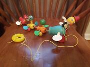 Vintage Fisher Price Gabby Goofy Duck Pull Toy Ducklings Babies Wooden Quacking