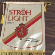 Vintage Strohs Beer Flag - Gold And Red Flag Fringe 14 Inches Wide 19 Inches Long
