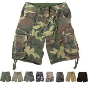 Mens Vintage Camo Cargo Shorts Army Military Tactical Infantry Utility Rugged