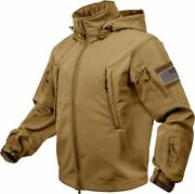 Coyote Brown Special Ops Soft Shell Waterproof Military Jacket W Us Flag Patches