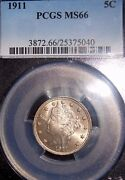 1911 5c Liberty Nickel Pcgs Ms66 Check Out That Nice Color