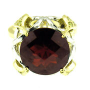 4800 9.50 Ct 2 Tone Gold Antique Style Garnet And Yellow Diamond Ring 18 Kt