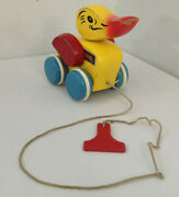 Brio Yellow Duck Pull Toy 1970's Made In Sweden Vintage Yellow Red Blue Wood Toy
