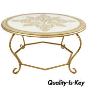 Italian Florentine Hollywood Regency Gold Wood And Iron Rope Round Coffee Table
